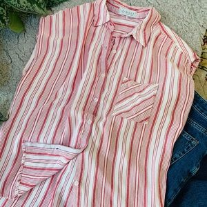 Red & White Stripped Button Down